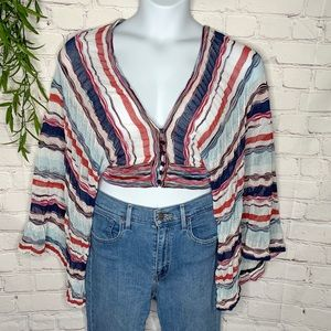 Missoni Italy wide sleeve button crop top sz 44